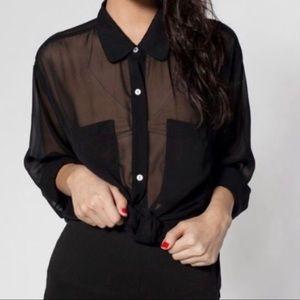 American Apparel Button Down Sheer Blouse Black OS